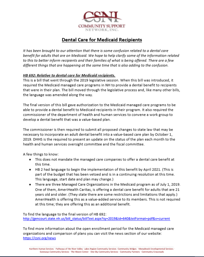 Dental Care for Medicaid Recipients